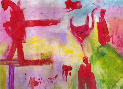 "Bloodnotsoil (13""x9"", mixed media on paper)"